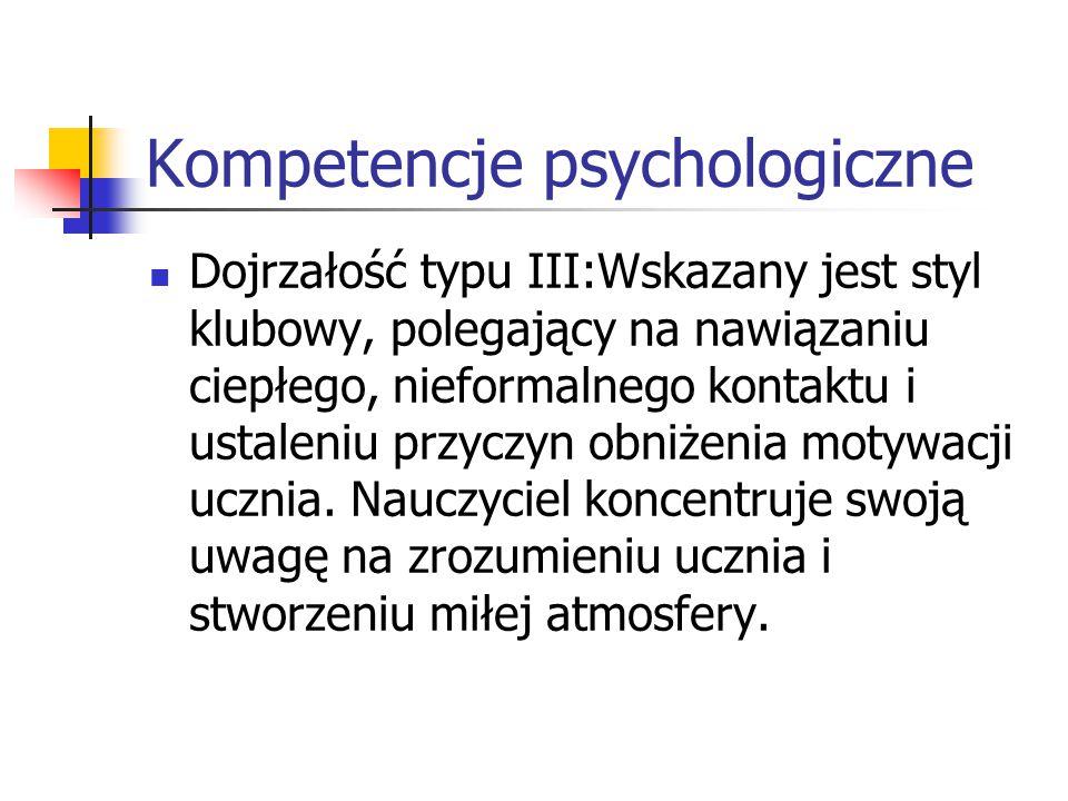 Kompetencje psychologiczne Dojrzałość typu III:Wskazany jest styl klubowy, polegający na nawiązaniu ciepłego, nieformalnego kontaktu i ustaleniu przyc