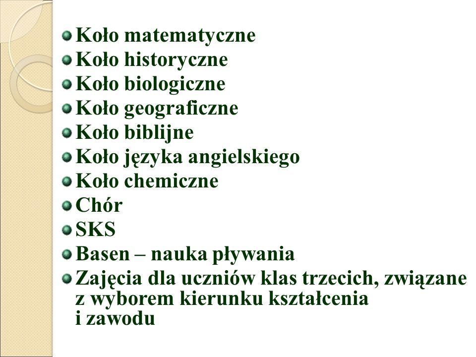 Koło matematyczne Koło historyczne Koło biologiczne Koło geograficzne Koło biblijne Koło języka angielskiego Koło chemiczne Chór SKS Basen – nauka pływania Zajęcia dla uczniów klas trzecich, związane z wyborem kierunku kształcenia i zawodu