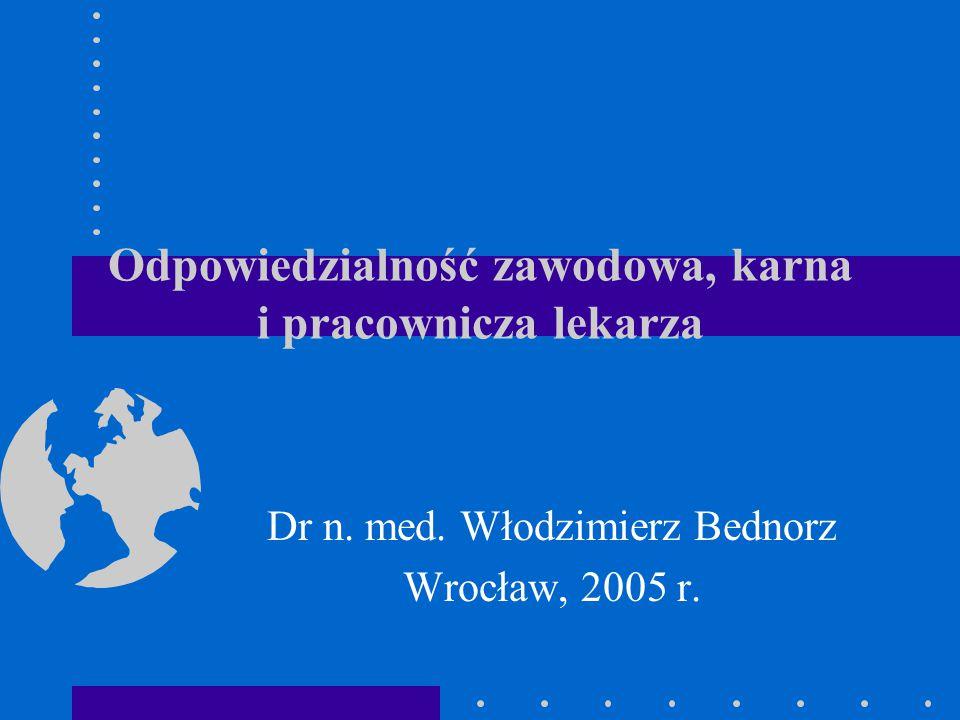 Odpowiedzialność zawodowa, karna i pracownicza lekarza Dr n. med. Włodzimierz Bednorz Wrocław, 2005 r.