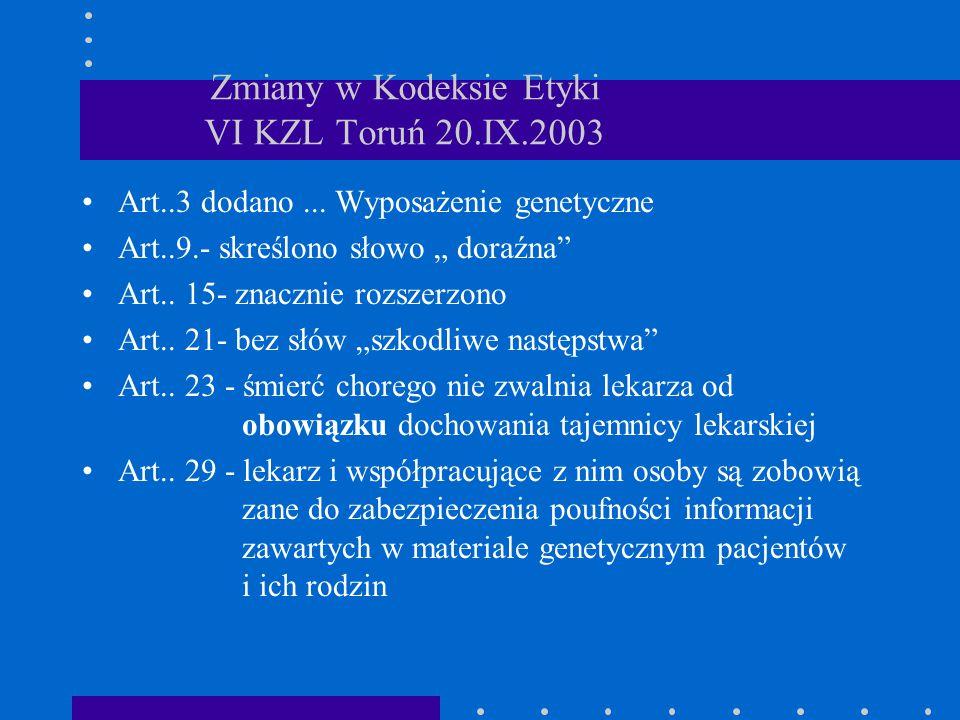 """Zmiany w Kodeksie Etyki VI KZL Toruń 20.IX.2003 Art..3 dodano... Wyposażenie genetyczne Art..9.- skreślono słowo """" doraźna"""" Art.. 15- znacznie rozszer"""