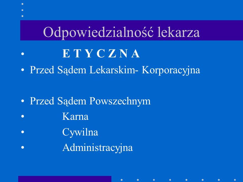 Odpowiedzialność lekarza E T Y C Z N A Przed Sądem Lekarskim- Korporacyjna Przed Sądem Powszechnym Karna Cywilna Administracyjna