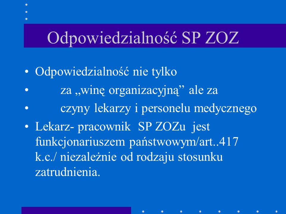 """Odpowiedzialność SP ZOZ Odpowiedzialność nie tylko za """"winę organizacyjną"""" ale za czyny lekarzy i personelu medycznego Lekarz- pracownik SP ZOZu jest"""