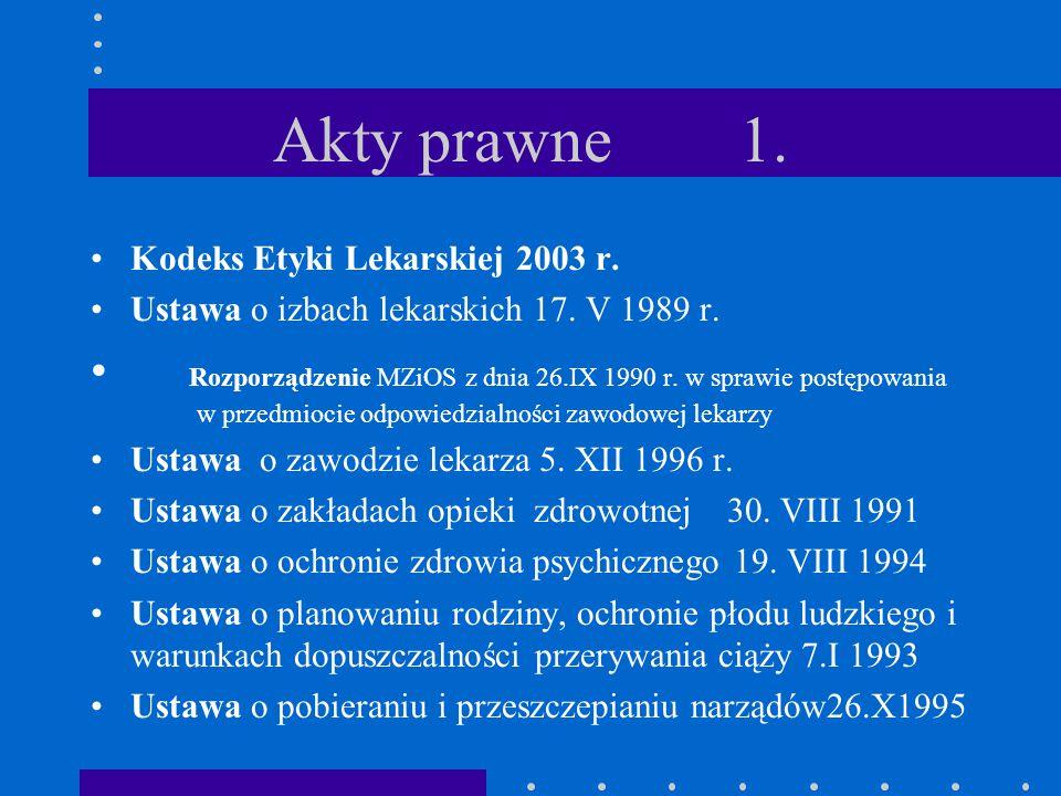 Akty prawne 1. Kodeks Etyki Lekarskiej 2003 r. Ustawa o izbach lekarskich 17. V 1989 r. Rozporządzenie MZiOS z dnia 26.IX 1990 r. w sprawie postępowan