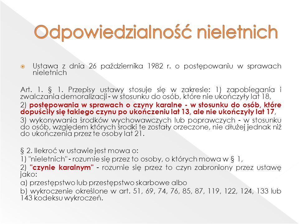  Ustawa z dnia 26 października 1982 r.o postępowaniu w sprawach nieletnich Art.