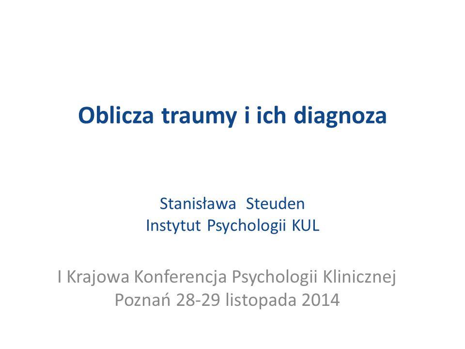 Złożony zespół PTSD - wiąże się z przedłużoną lub powtarzającą się traumą  Poczucie winy  Stygmatyzacja  Zaburzenia poczucia tożsamości (J.Herman, 1992, 1998)  Zaburzenia tożsamości osobistej (ciągłości Ja – trudność w integrowaniu przeszłości i teraźniejszości ) i tożsamości społecznej (Harre, 1983, Kestenberg, 1982)  Załamanie linii życiowej, utrata poczucia sensu życia (Janoff- Bulman, 1998) Syndrom ocalałego (poczucie winy ocalałych ) –(Lifton, 1967; Niederland 1981) Syndrom Drugiego /Trzeciego pokolenia