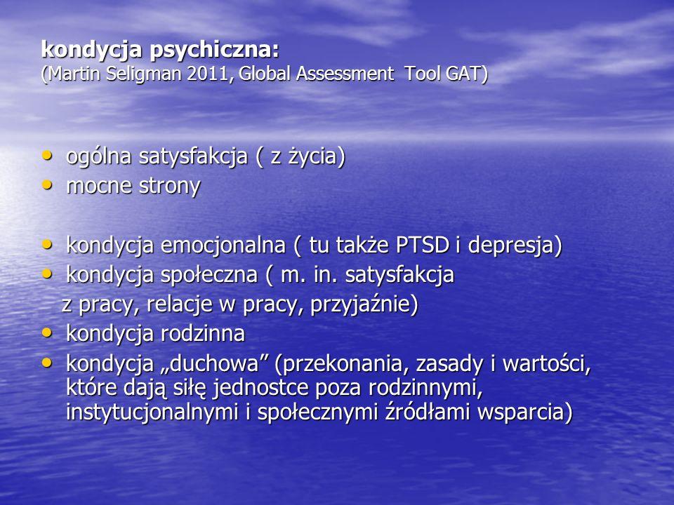 kondycja psychiczna: (Martin Seligman 2011, Global Assessment Tool GAT) ogólna satysfakcja ( z życia) ogólna satysfakcja ( z życia) mocne strony mocne