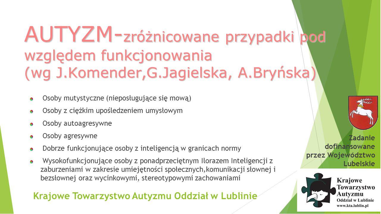 Krajowe Towarzystwo Autyzmu Oddział w Lublinie AUTYZM-WCZESNE OZNAKIcd wg.E.Pisula Brak właściwej gestykulacji i wyrażania emocji za pomocą postawy 2 rok życia Nietypowe pozy 2.
