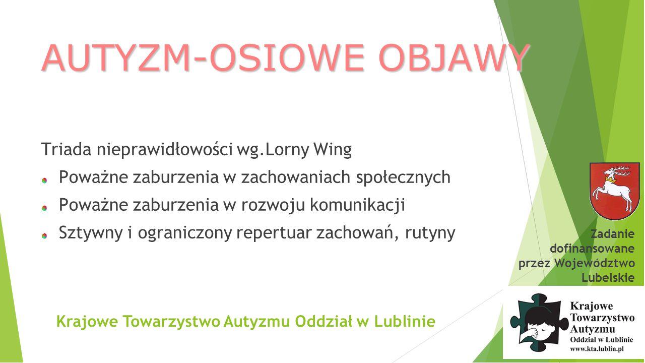 Krajowe Towarzystwo Autyzmu Oddział w Lublinie Zaburzenia widoczne w zachowaniu małych dzieci z autyzmem (wg Stone, 1997) 1.