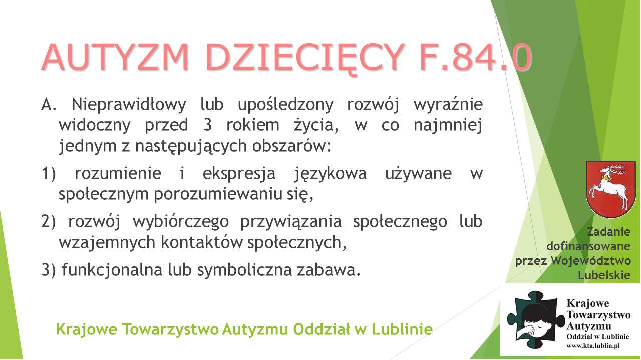 Krajowe Towarzystwo Autyzmu Oddział w Lublinie Przydatne strony internetowe: Potal autyzm.pl (www.dzieci.bci.pl/strony/autyzm)www.dzieci.bci.pl/strony/autyzm Projekt Od wykluczenia do integracji (www.autyzmwpolsce.pl)www.autyzmwpolsce.pl Autyzm.pl Forumautyzmu.pl Autism Resourses (www.autism-resources.com)www.autism-resources.co Autism Today (www.autismtoday.com)www.autismtoday.com Autism Speaks (www.autismspeaks.org)www.autismspeaks.org Center for the Study of Autism(www.autism.com)www.autism.com Tony Atwood (www.tonyattwood.com.au)www.tonyattwood.com.au Autistics.org (www.autistcs.org)www.autistcs.org Research Autism (www.researchautism.net) Zadanie dofinansowane przez Województwo Lubelskie
