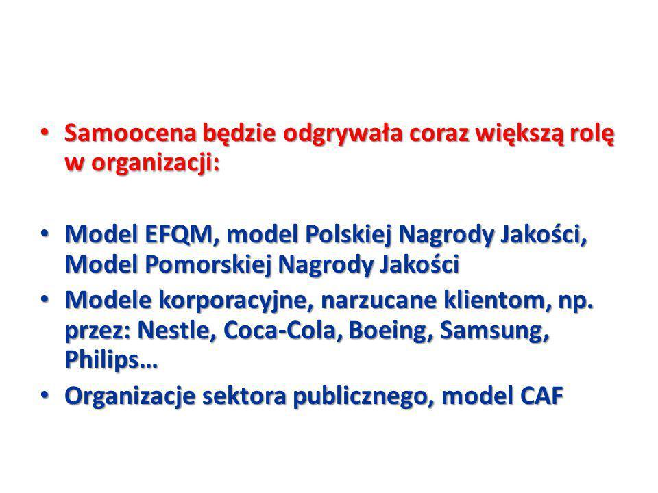 Samoocena będzie odgrywała coraz większą rolę w organizacji: Samoocena będzie odgrywała coraz większą rolę w organizacji: Model EFQM, model Polskiej N