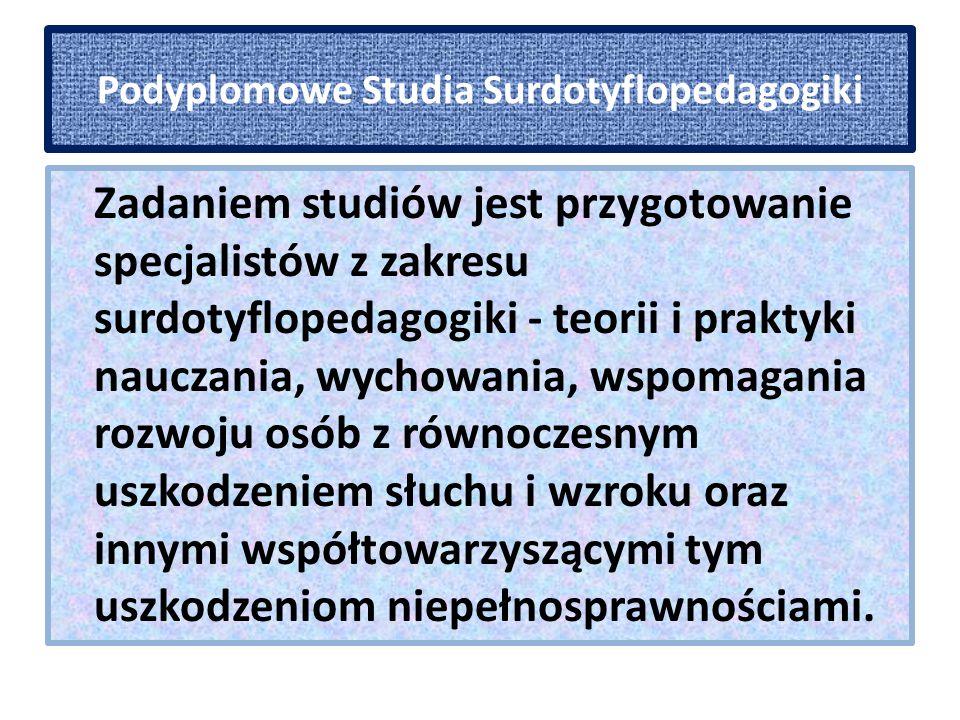Podyplomowe Studia Surdotyflopedagogiki Szczegółowe cele studiów: - przygotowanie kadry sudrotyflopedagogów, specjalistów z zakresu rehabilitacji i edukacji osób głuchoniewidomych.