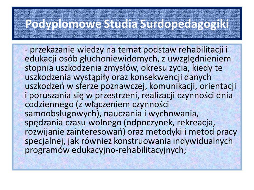 Podyplomowe Studia Surdopedagogiki - zapoznanie z działalnością organizacji pozarządowych w zakresie wspomagania osób głuchoniewidomych; - wyposażenie w wiedzę na temat podstaw prawnych wspomagania osób niepełnosprawnych i ich rodzin oraz organizacji pomocy rehabilitacyjno-edukacyjnej w Polsce, innych krajach europejskich i USA; - przedstawienie informacji na temat osiągnięć surdotyflopedagogiki w aspekcie historycznym; - ukierunkowanie słuchaczy do dalszego samokształcenia w zakresie surdotyflopedagogiki.