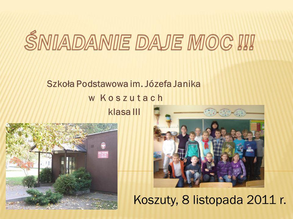 Szkoła Podstawowa im. Józefa Janika w K o s z u t a c h klasa III Koszuty, 8 listopada 2011 r.
