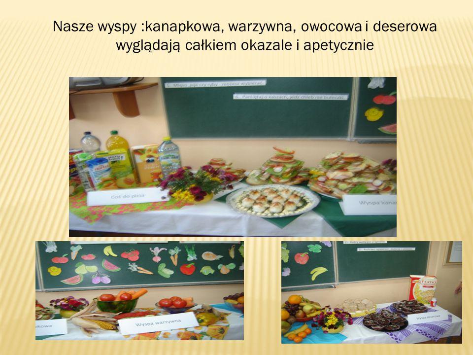 Nasze wyspy :kanapkowa, warzywna, owocowa i deserowa wyglądają całkiem okazale i apetycznie