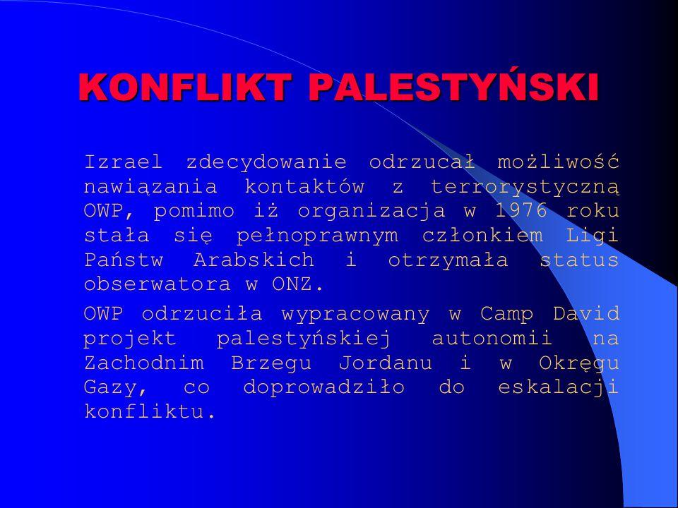 KONFLIKT PALESTYŃSKI Izrael zdecydowanie odrzucał możliwość nawiązania kontaktów z terrorystyczną OWP, pomimo iż organizacja w 1976 roku stała się peł