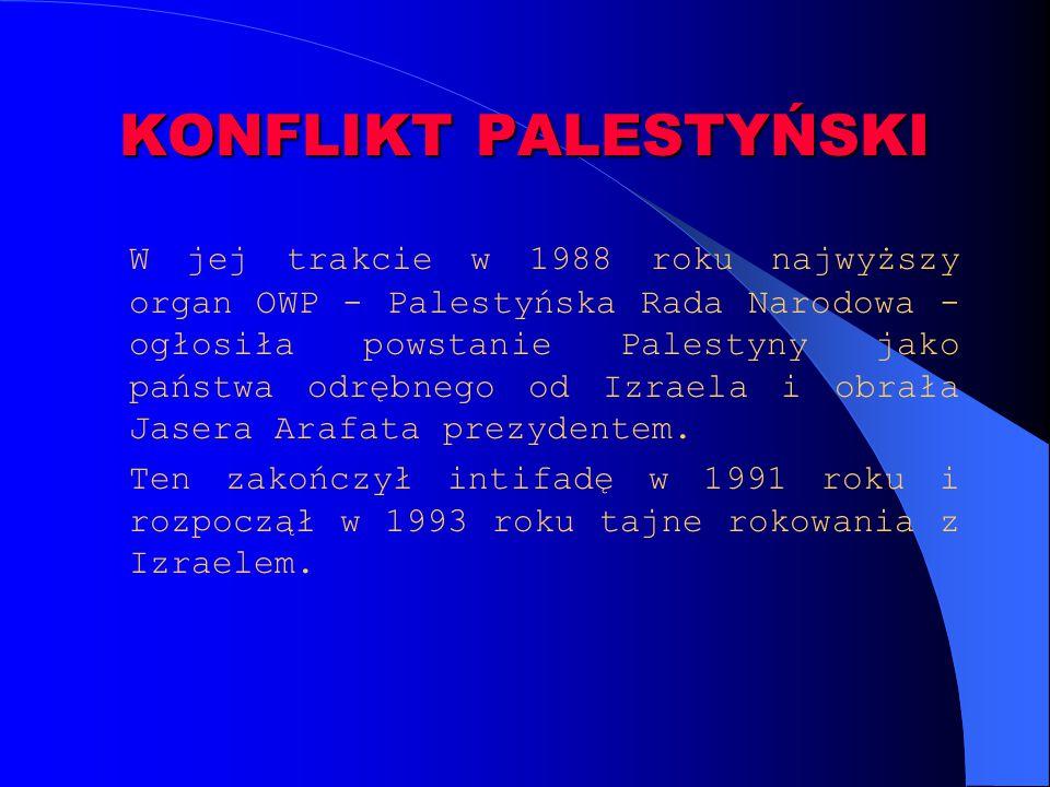 KONFLIKT PALESTYŃSKI W jej trakcie w 1988 roku najwyższy organ OWP - Palestyńska Rada Narodowa - ogłosiła powstanie Palestyny jako państwa odrębnego o