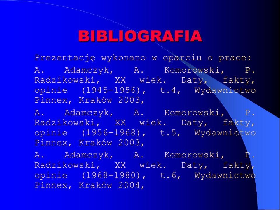 BIBLIOGRAFIA Prezentację wykonano w oparciu o prace: A. Adamczyk, A. Komorowski, P. Radzikowski, XX wiek. Daty, fakty, opinie (1945-1956), t.4, Wydawn