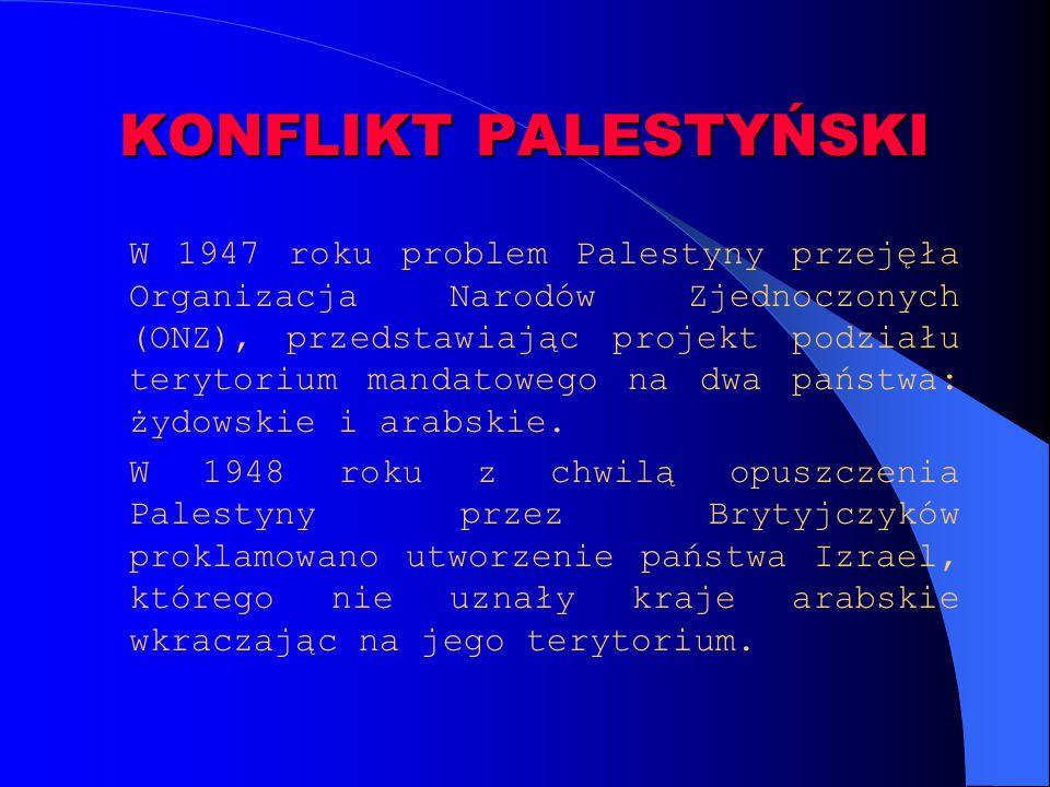 KONFLIKT PALESTYŃSKI W 1947 roku problem Palestyny przejęła Organizacja Narodów Zjednoczonych (ONZ), przedstawiając projekt podziału terytorium mandat