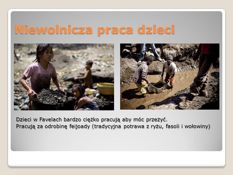 Niewolnicza praca dzieci Dzieci w Favelach bardzo ciężko pracują aby móc przeżyć. Pracują za odrobinę feijoady (tradycyjna potrawa z ryżu, fasoli i wo