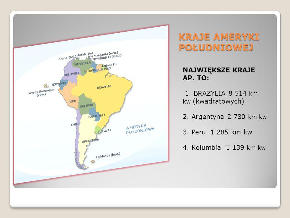 KRAJE AMERYKI POŁUDNIOWEJ NAJWIĘKSZE KRAJE AP. TO: 1. BRAZYLIA 8 514 km kw (kwadratowych) 2. Argentyna 2 780 km kw 3. Peru 1 285 km kw 4. Kolumbia 1 1