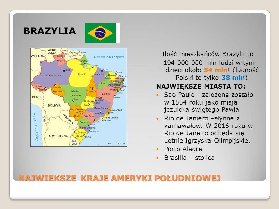 NAJWIEKSZE KRAJE AMERYKI POŁUDNIOWEJ BRAZYLIA Ilość mieszkańców Brazylii to 194 000 000 mln ludzi w tym dzieci około 54 mln! (ludność Polski to tylko