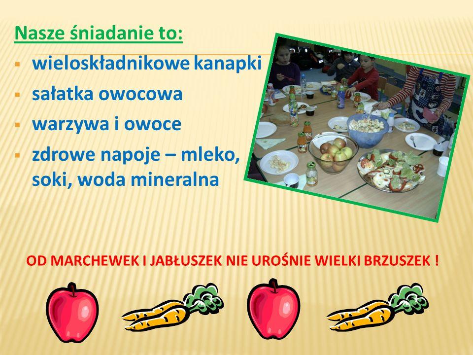 Nasze śniadanie to:  wieloskładnikowe kanapki  sałatka owocowa  warzywa i owoce  zdrowe napoje – mleko, soki, woda mineralna OD MARCHEWEK I JABŁUSZEK NIE UROŚNIE WIELKI BRZUSZEK !