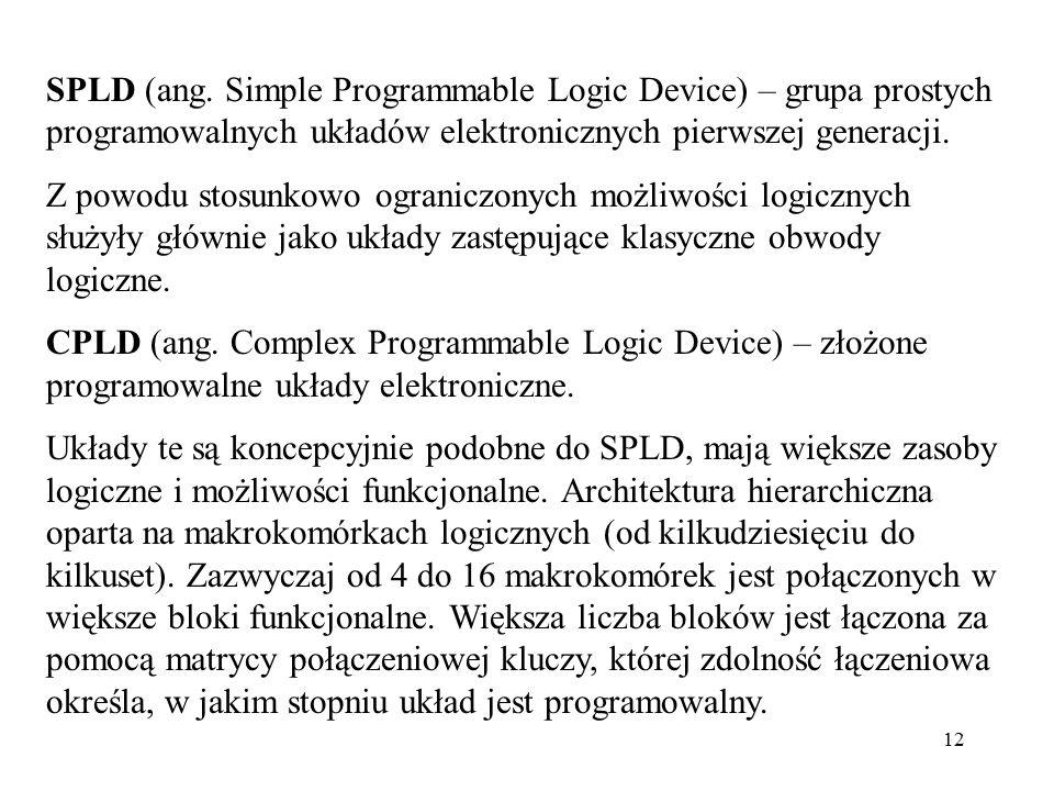 12 SPLD (ang. Simple Programmable Logic Device) – grupa prostych programowalnych układów elektronicznych pierwszej generacji. Z powodu stosunkowo ogra