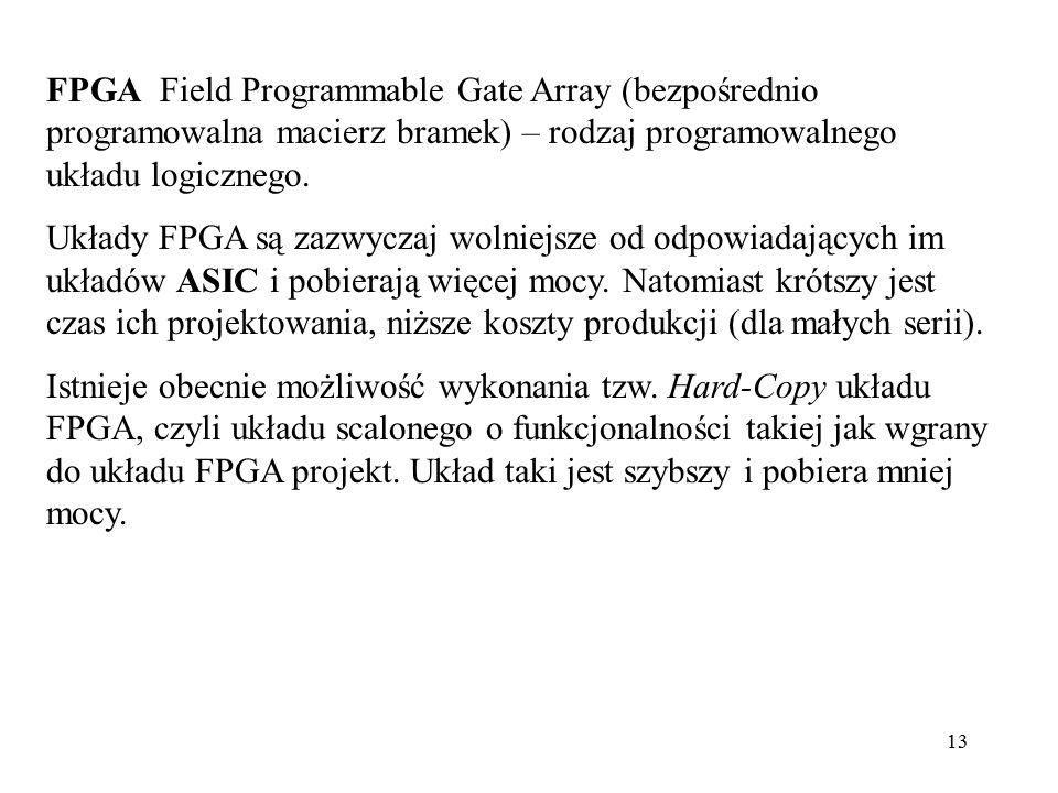 13 FPGA Field Programmable Gate Array (bezpośrednio programowalna macierz bramek) – rodzaj programowalnego układu logicznego. Układy FPGA są zazwyczaj