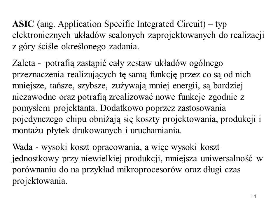 14 ASIC (ang. Application Specific Integrated Circuit) – typ elektronicznych układów scalonych zaprojektowanych do realizacji z góry ściśle określoneg
