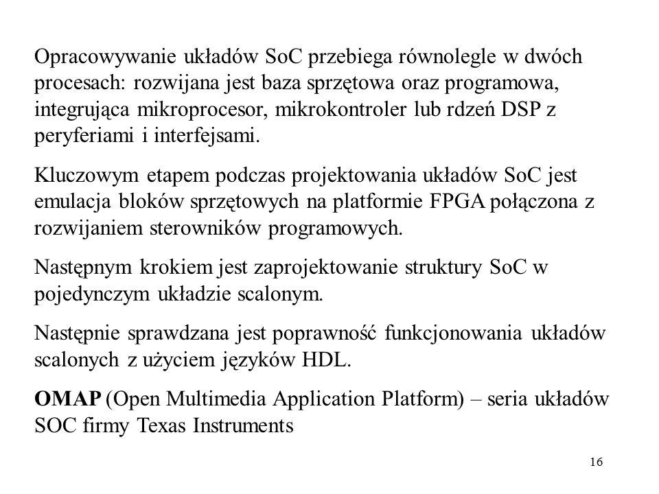 16 Opracowywanie układów SoC przebiega równolegle w dwóch procesach: rozwijana jest baza sprzętowa oraz programowa, integrująca mikroprocesor, mikroko