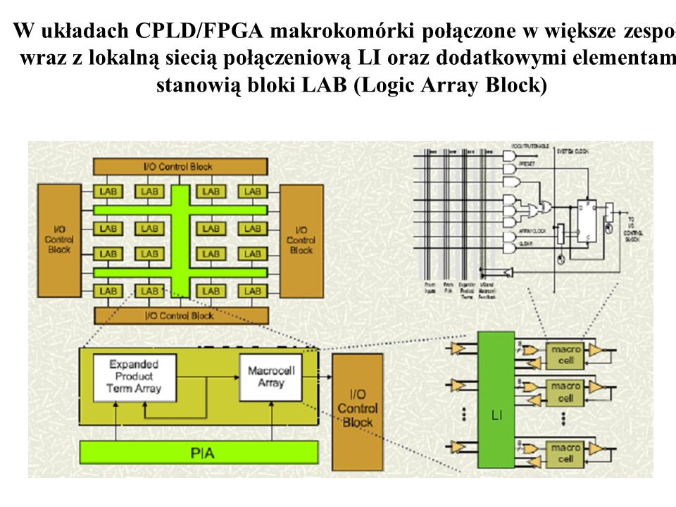 40 W układach CPLD/FPGA makrokomórki połączone w większe zespoły wraz z lokalną siecią połączeniową LI oraz dodatkowymi elementami stanowią bloki LAB