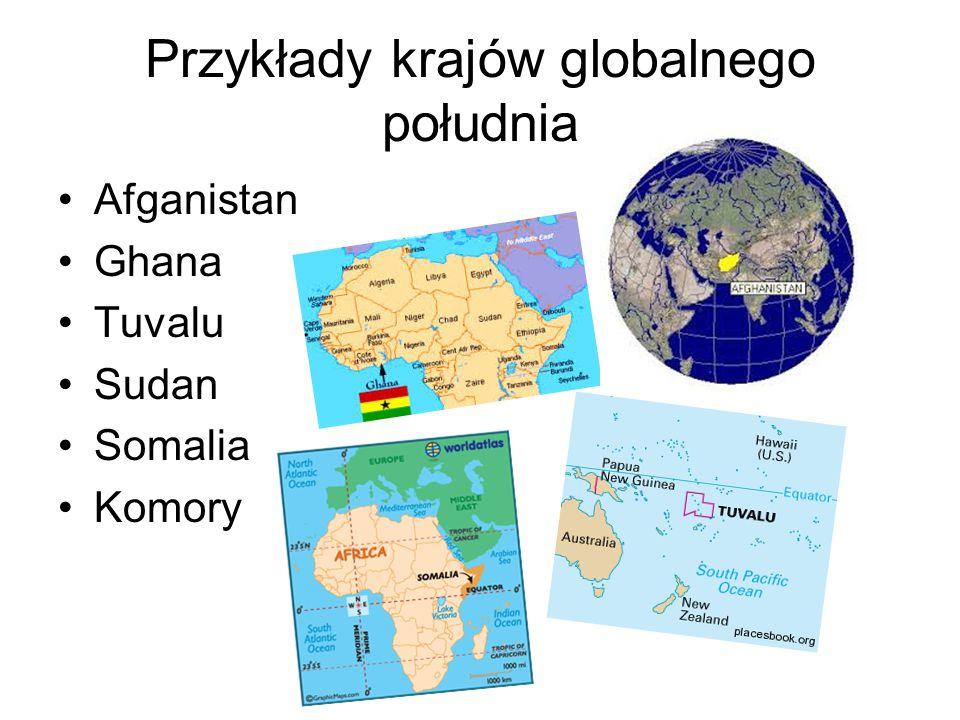 Przykłady krajów globalnego południa Afganistan Ghana Tuvalu Sudan Somalia Komory