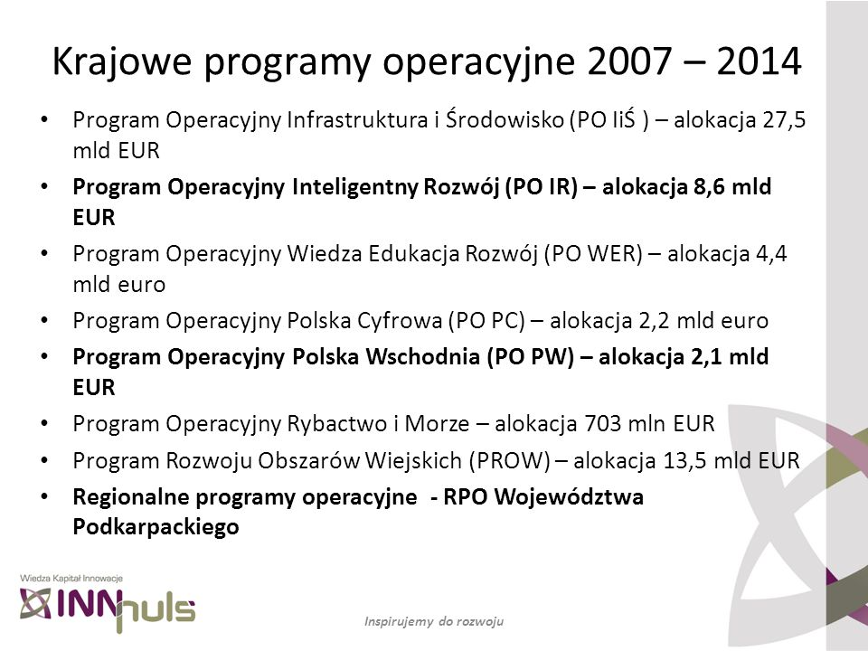 Program Operacyjny Infrastruktura i Środowisko (PO IiŚ ) – alokacja 27,5 mld EUR Program Operacyjny Inteligentny Rozwój (PO IR) – alokacja 8,6 mld EUR