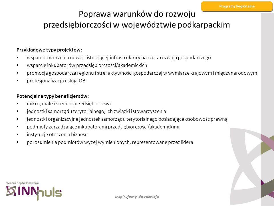 Poprawa warunków do rozwoju przedsiębiorczości w województwie podkarpackim Przykładowe typy projektów: wsparcie tworzenia nowej i istniejącej infrastr