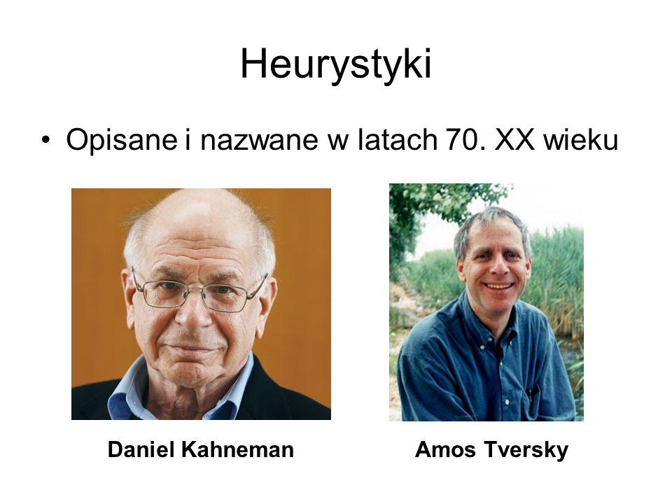 Heurystyki Opisane i nazwane w latach 70. XX wieku Daniel KahnemanAmos Tversky