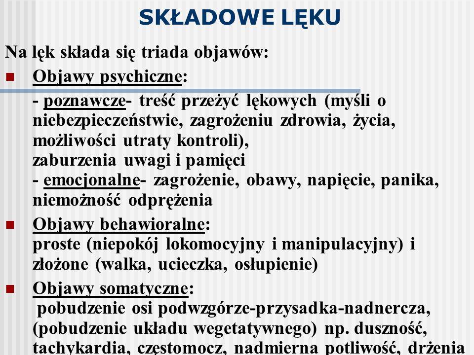 SKŁADOWE LĘKU Na lęk składa się triada objawów: Objawy psychiczne: - poznawcze- treść przeżyć lękowych (myśli o niebezpieczeństwie, zagrożeniu zdrowia