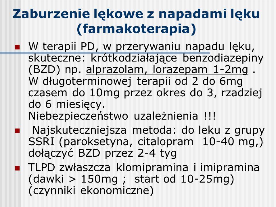 Zaburzenie lękowe z napadami lęku (farmakoterapia) W terapii PD, w przerywaniu napadu lęku, skuteczne: krótkodziałające benzodiazepiny (BZD) np. alpra