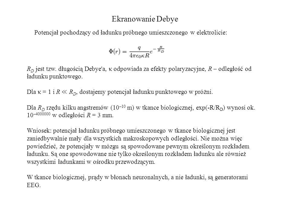 Ekranowanie Debye R D jest tzw. długością Debye'a, κ odpowiada za efekty polaryzacyjne, R – odległość od ładunku punktowego. Dla κ = 1 i R ≪ R D, dost