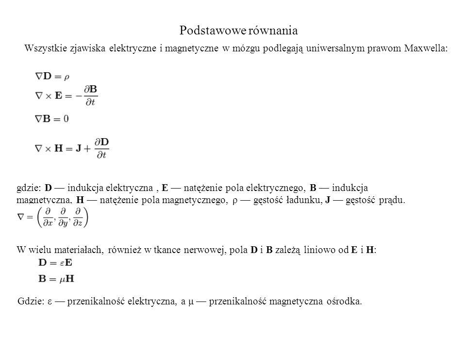 Podstawowe równania Wszystkie zjawiska elektryczne i magnetyczne w mózgu podlegają uniwersalnym prawom Maxwella: gdzie: D — indukcja elektryczna, E — natężenie pola elektrycznego, B — indukcja magnetyczna, H — natężenie pola magnetycznego, ρ — gęstość ładunku, J — gęstość prądu.