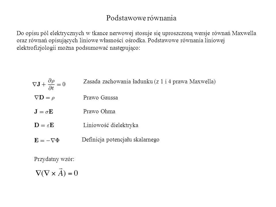 Podstawowe równania Do opisu pól elektrycznych w tkance nerwowej stosuje się uproszczoną wersje równań Maxwella oraz równań opisujących liniowe własno