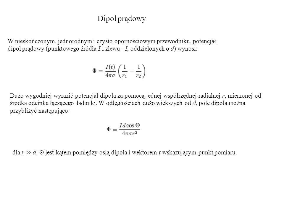 Dipol prądowy W nieskończonym, jednorodnym i czysto opornościowym przewodniku, potencjał dipol prądowy (punktowego źródła I i zlewu –I, oddzielonych o