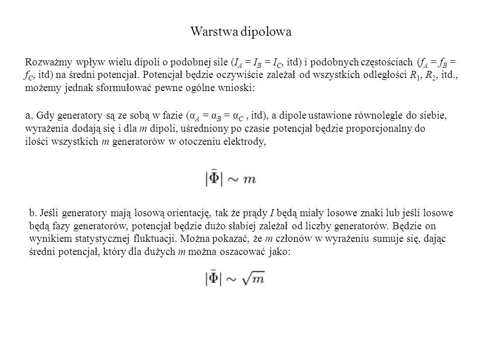 Warstwa dipolowa Rozważmy wpływ wielu dipoli o podobnej sile (I A = I B = I C, itd) i podobnych częstościach (f A = f B = f C, itd) na średni potencjał.
