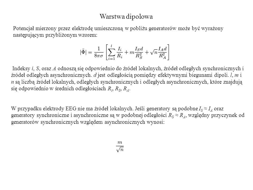 Warstwa dipolowa Potencjał mierzony przez elektrodę umieszczoną w pobliżu generatorów może być wyrażony następującym przybliżonym wzorem: Indeksy i, S, oraz A odnoszą się odpowiednio do źródeł lokalnych, źródeł odległych synchronicznych i źródeł odległych asynchronicznych.