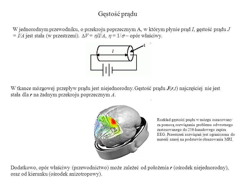 Gęstość prądu W tkance mózgowej przepływ prądu jest niejednorodny. Gęstość prądu J(r,t) najczęściej nie jest stała dla r na żadnym przekroju poprzeczn