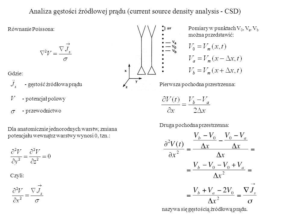 Analiza gęstości źródłowej prądu (current source density analysis - CSD) Pomiary w punktach V 0, V a, V b można przedstawić: Pierwsza pochodna przestr