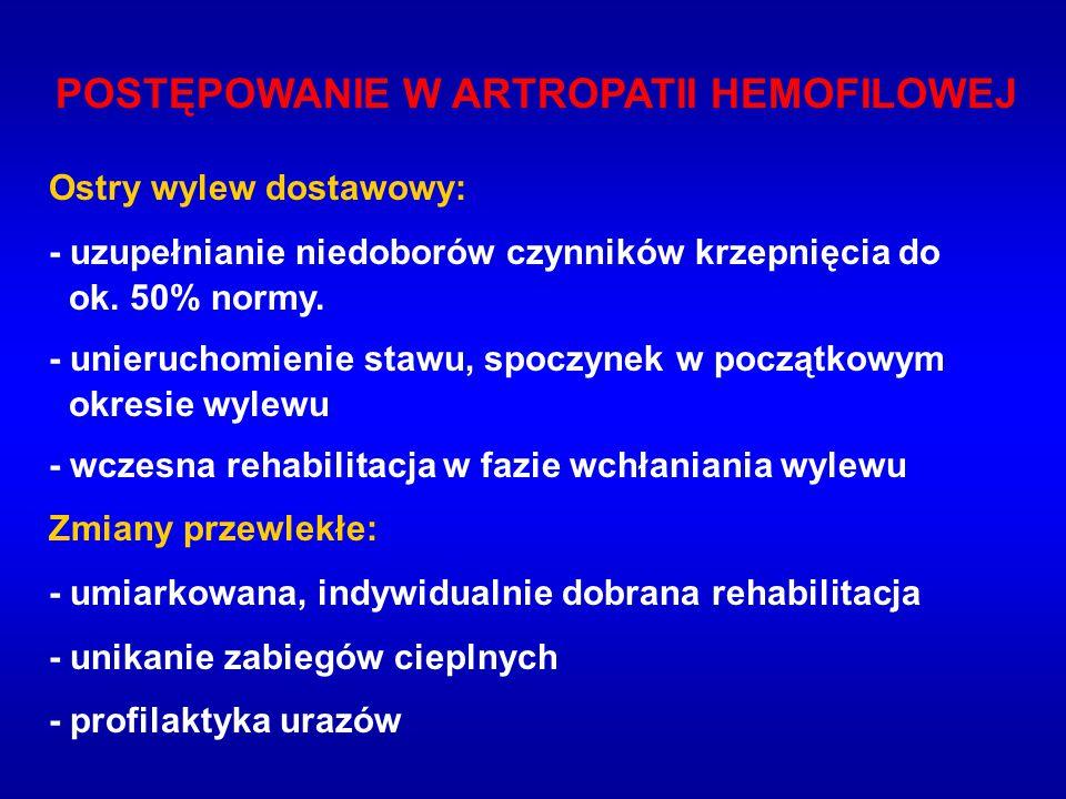 POSTĘPOWANIE W ARTROPATII HEMOFILOWEJ Ostry wylew dostawowy: - uzupełnianie niedoborów czynników krzepnięcia do ok.