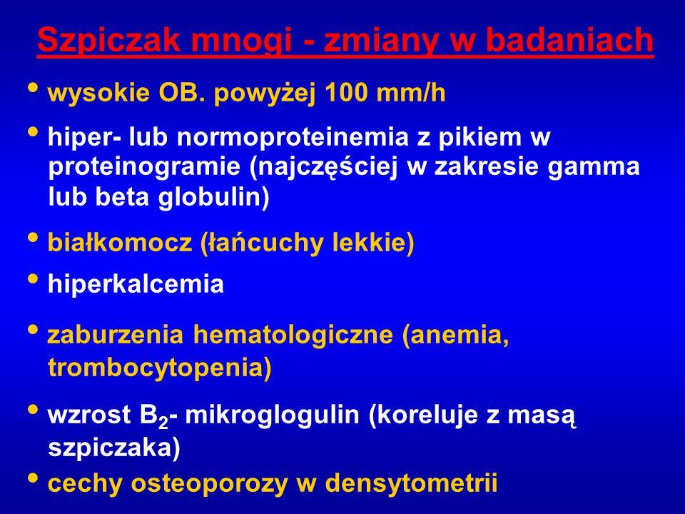 Szpiczak mnogi - zmiany w badaniach wysokie OB. powyżej 100 mm/h hiper- lub normoproteinemia z pikiem w proteinogramie (najczęściej w zakresie gamma l