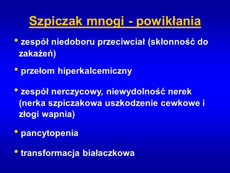 Szpiczak mnogi - powikłania zespół niedoboru przeciwciał (skłonność do zakażeń) przełom hiperkalcemiczny zespół nerczycowy, niewydolność nerek (nerka
