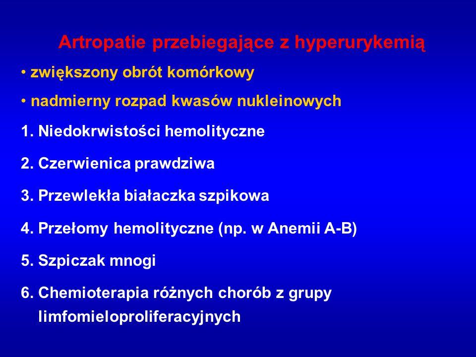 Artropatie przebiegające z hyperurykemią zwiększony obrót komórkowy nadmierny rozpad kwasów nukleinowych 1. Niedokrwistości hemolityczne 2. Czerwienic