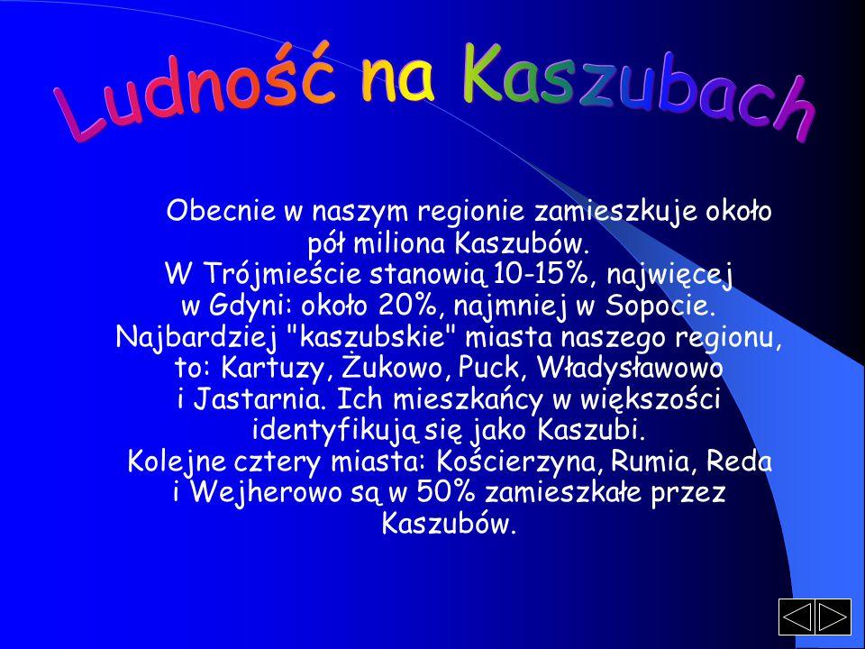 Obecnie w naszym regionie zamieszkuje około pół miliona Kaszubów. W Trójmieście stanowią 10-15%, najwięcej w Gdyni: około 20%, najmniej w Sopocie. Naj